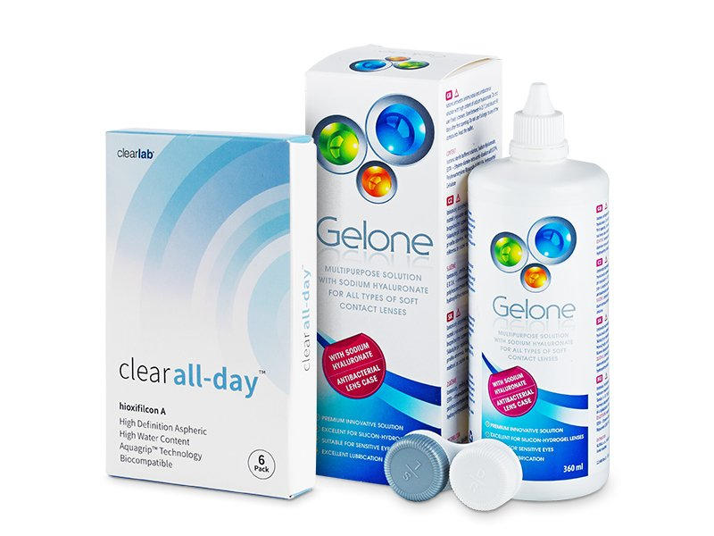 Clear All-Day (6 линз) + Раствор Gelone 360 мл