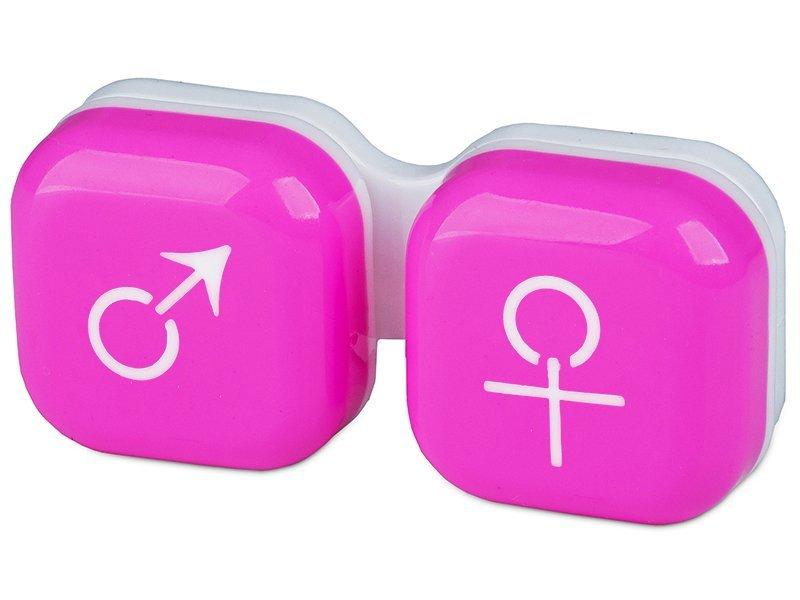 Кейс для линз мужчина & женщина - розовый