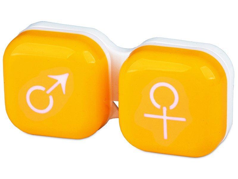 Кейс для линз мужчина & женщина - желтый