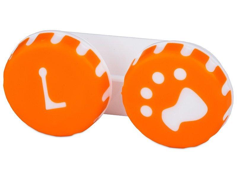 Кейс для линз Лапа оранжевый