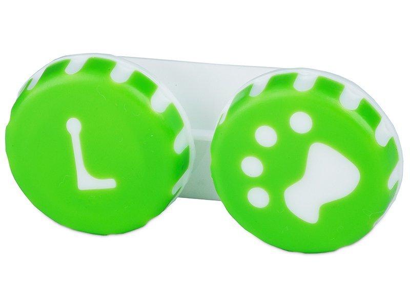 Кейс для линз Лапа зеленый