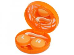 Футляр для линз с зеркалом - оранжевый орнамент