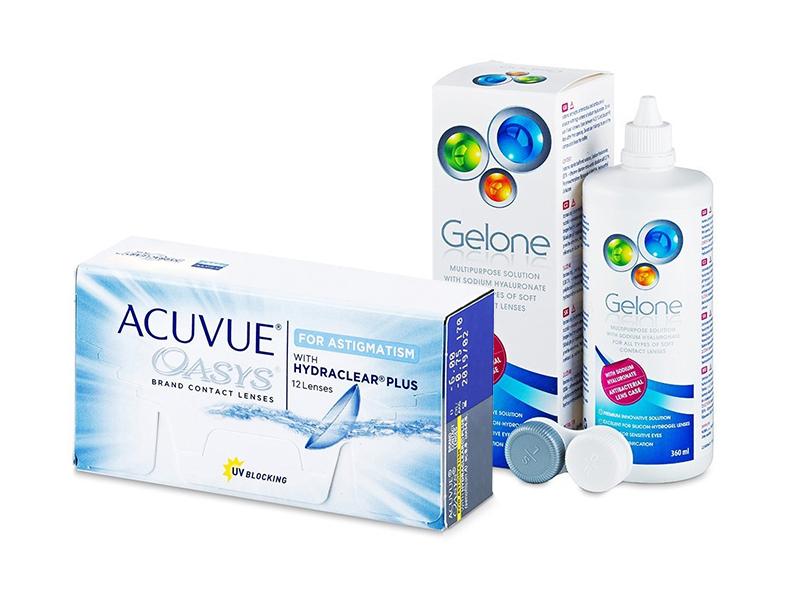 Acuvue Oasys for Astigmatism (12 линз) + Раствор Gelone 360 ml