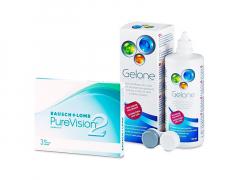 PureVision 2 (3 линзы) + Раствор Gelone 360 ml