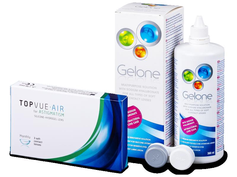 TopVue Air for Astigmatism (3линзы) + Раствор Gelone360мл