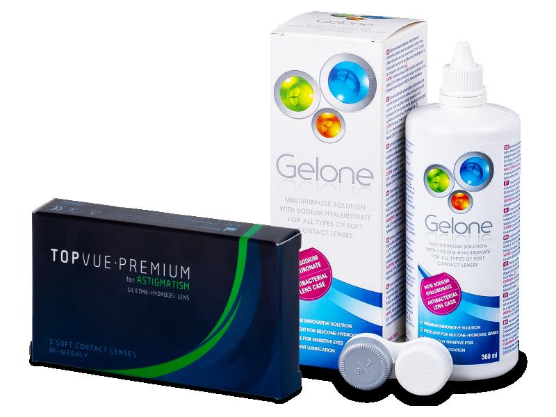 TopVue Premium for Astigmatism (3линзы) +Раствор Gelone360мл