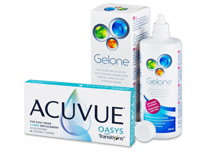 Acuvue Oasys with Transitions (6 линз) + раствор Gelone 360 ml