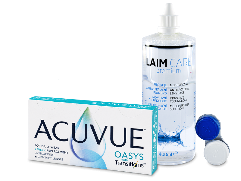 Acuvue Oasys with Transitions (6 линз) + раствор Laim-Care 400 ml