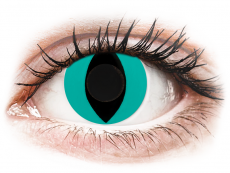 CRAZY LENS - Cat Eye Aqua - без диоптрий (2 однодневных цветных линз)