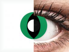 CRAZY LENS - Cat Eye Green - без диоптрий (2 однодневных цветных линз)