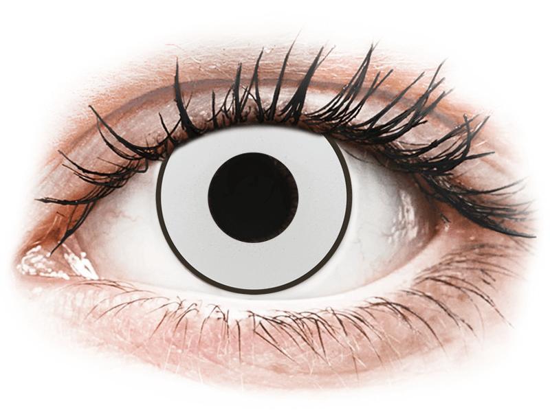 CRAZY LENS - White Black - с диоптриями (2 однодневных цветных линз)
