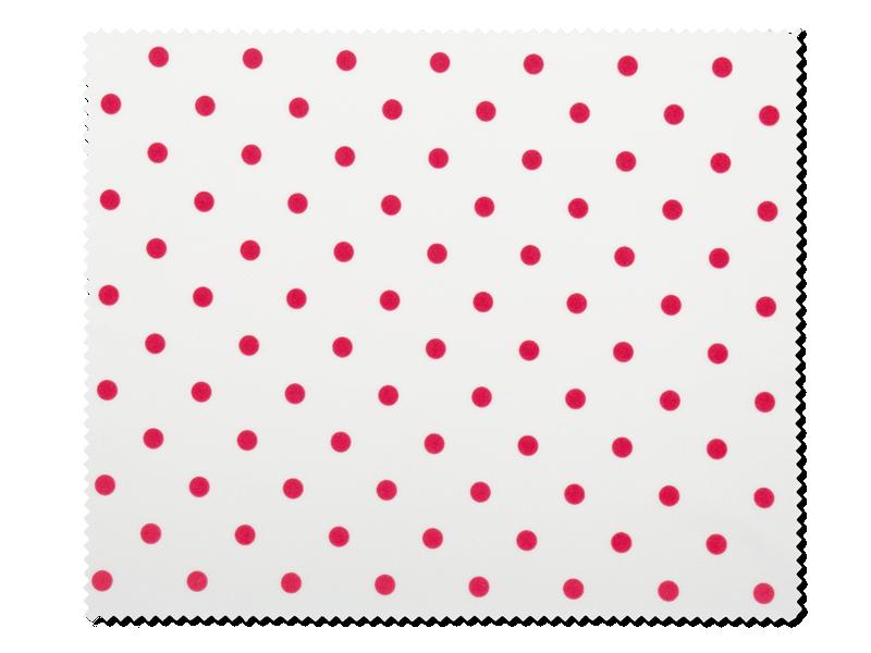 Очищающая салфетка для очков - белая в красный горох