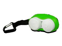Зелёный контейнер для линз с карабином