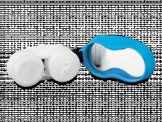 Синий контейнер для линз с карабином